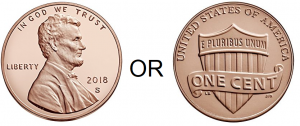heads or tails of a penny